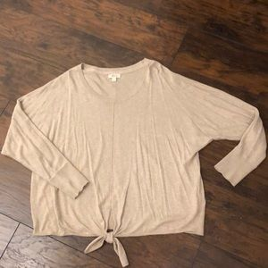 NWOT XL Style & Co oatmeal light sweater tie top